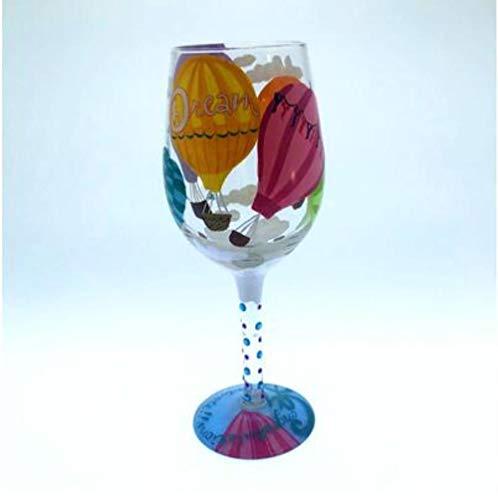 Tgbyhnujm Kerstmis rode wijn Cup kerstdecoratie voor thuis met de hand beschilderde kristal rodewijnglas beker