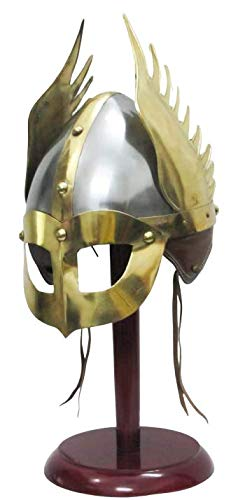 Medieval Mask Viking Helmet Replica Armor Warrior Helmet With Wooden Stand and Liner