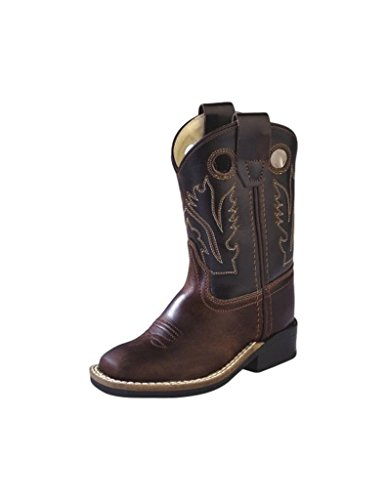 Old West Cowboy Boots Boys Leather Square Toe 8 Infant Brown BSI1807