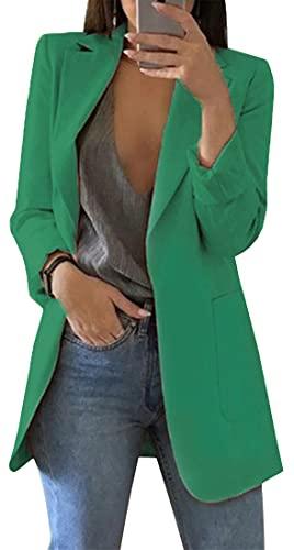 FLYCHEN Chaquetas de Traje y Blazers Blazers de Mujer Moda Color Sólido Solapa Manga Larga Mujer Business Casual Blazer Coat Office Lady, Verde 1, M