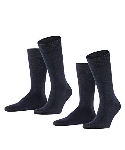 FALKE Herren Happy 2-Pack M SO Socken, Blickdicht, Blau (Dark Navy 6375), 43-46 (2er Pack)