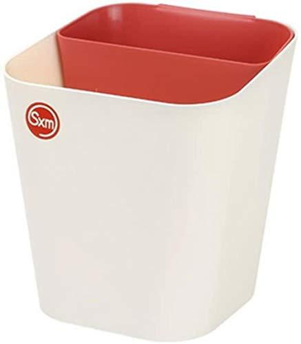 Double Bin Recycling vuilnisbakken for voedsel Kitchen Plastic zonder deksel 2 x 6 l (Kleur: Grijs + wit), Kleur: Rood + abrikoos (Color : Red+apricot)