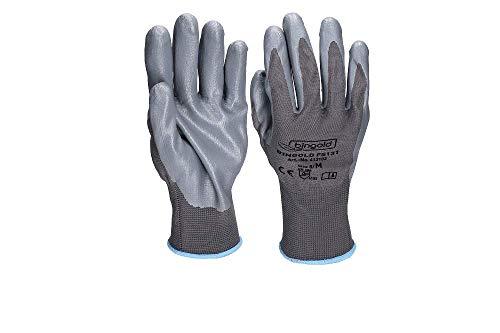 Fijn gebreide handschoenen BINGOLD, met nitrilcoating, grijs, maten M, L, XL of XXL, XX-Large, 1