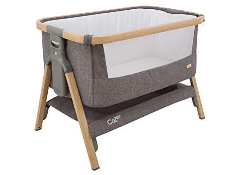 Tutti Bambini CoZee Bedside Crib/Co-Sleeper with Breathable Mesh Window, Travel Bag and Easy Fold (Oak and Charcoal)