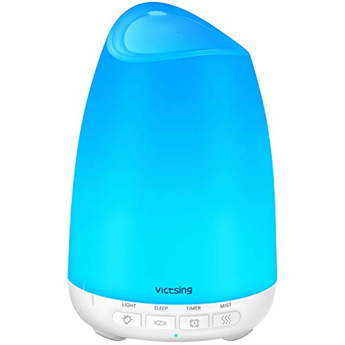 VicTsing 150ml Essential Oil Diffuser, 3rd Version Aromatherapy Diffusers Ultrasonic Cool Mist Humidifier with Sleep Mode, Waterless Auto-Off & 8-Color LED Light for Home Office Room Baby-White