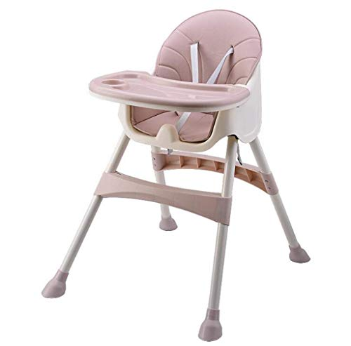 Best Bargain Kylinokm Travel Booster Seat with Tray for Baby, Folding Portable High Chair for Eating, Camping, Beach, Lawn, Kitchen Chairs High Chair (Color : Pink)