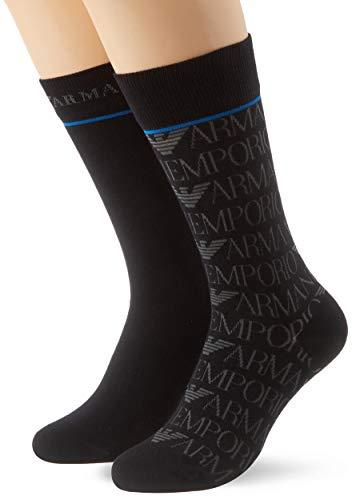 Emporio Armani Underwear Herren Logo All Over Short Socken, Schwarz (Nero 00020), One Size (Herstellergröße: TU)