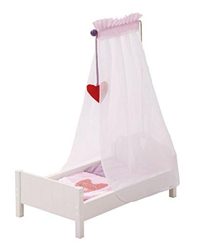 """roba Puppenbett aus Puppenmöbel Serie """"Fienchen"""", Puppenbett inkl. textiler Ausstattung, Bettwäsche und Himmel, Puppenzubehör weiß lackiert"""