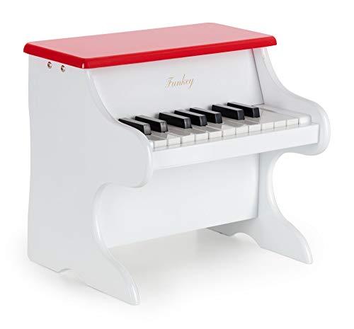 Funkey MP-18 Mini Spielzeug Piano - Metallophon in Klavier Optik - 18 Tasten ideal für kleine Kinderhände - Kinderklavier für Kinder ab 3 Jahren - Weiß