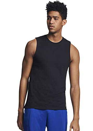 Russell Athletic Men's Cotton Performance Sleeveless Muscle T-shirt,Black,X-Large