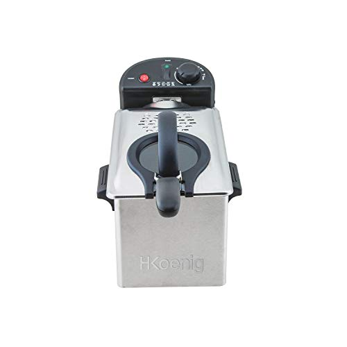H.Koenig DFX300 Friteuse électrique Semi Professionnelle Manuelle 3L Inox Compacte Air chaud, Filtre anti-odeurs, Température réglable, Poignées thermo-isolées, Panier amovible