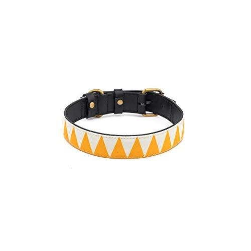 Makasih Dog Collar para perro de piel TIGA – Collar de perro de piel curtida vegetal negro – con lienzo impreso amarillo y blanco