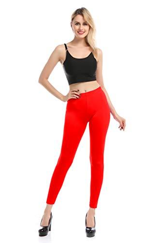 Carnavalife Leggings Malla Elástica de Tiro Alto/Pantalones Largos Deportiva Danza Running Fitness para Mujer (Rojo, XXL-3XL)