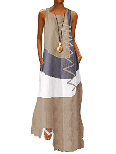 Minetom Damen Gestreift Lange Boho Kleid Übergröße Maxikleid Dame Strand Sommerkleid Lange Kleider Ärmellos Partykleid Festliches Kleid große größen B Braun 46
