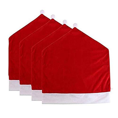 FUSKANG 4 Stücke Stuhlabdeckung Weihnachtsmütze, Stuhl Cartoon Weihnachten Hut Form Stuhlabdeckung Home Party Dekoration