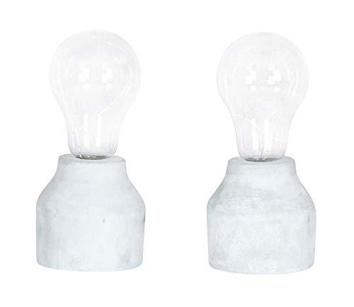 levandeo 2er Set Tischleuchte 9x20cm LED Glühbirne Beton Tischlampe Deko Zement Retro Industrie Industrial Tischdeko Lampe Leuchte