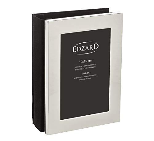 EDZARD Fotoalbum Album Lugano für 80 Fotos 10 x 15 cm, edel versilbert, anlaufgeschützt