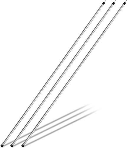 Aluminium Zeltstange - Kurzes Packmaß - Aufstellstange Abstütztstange von 120-300 cm für Tarps, Planen, Vorzelt, Sonnensegel, Tarnnetz oder Zelteingang Farbe Alu - 3 Stück