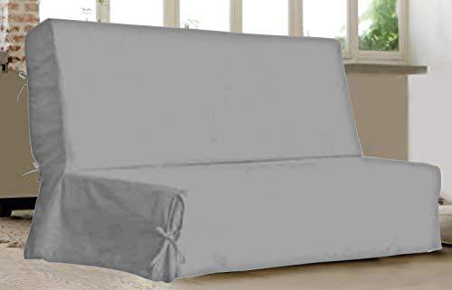 UNIVERS-DECOR Housse clic clac à nouettes Unie 140 x 200 cm (Gris Perle, 1 Housse clic clac à nouettes Unie 140 x 200 cm)