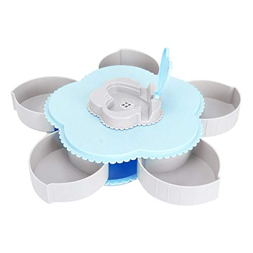 Scatola snack creativa, scatola rotazione Scatola snack Porta caramelle Piatto girevole frutta Snack Vassoio Porta snack(Blu)