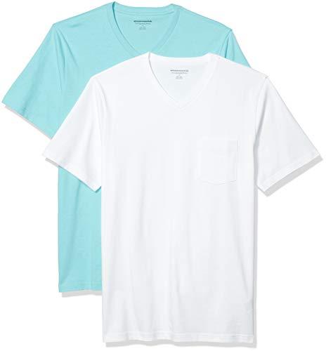 Amazon Essentials 2-Pack Slim-Fit V-Neck Pocket Fashion-t-Shirts, Aqua/Weiß, US L (EU L)