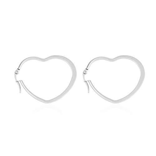 ZNMUCgs Frauen Höhle-Herz-Statement Ohrringe Schmuck Haken baumeln Tropfen-Band-Ohrringe,Rostfreier Stahl