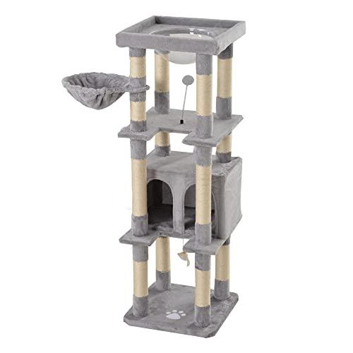 OSJ キャットタワー 頑丈 据え置き 宇宙船 多頭 おしゃれ 麻紐 全高141cm 爪とぎボール 猫ベッド 安全安心 ペット用品 猫用品 猫タワー キャットハウス キャット 猫 爪とぎ (ベージュ) (グレー, マイクロベルボア生地)