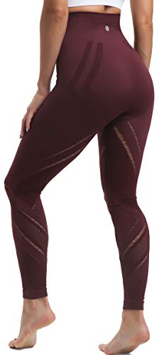 RUNNING GIRL Women's High Waist Yoga Leggings, Power Flex Tummy Control Yoga Pants Ultra Strecth Seamless Workout Leggings(CK2442 Red,M)