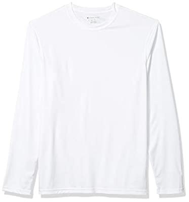 Champion Men's Long Sleeve Double Dry Performance T-Shirt, White, Large