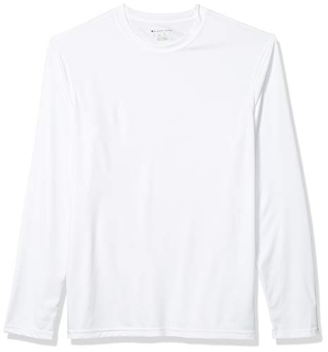 Champion Men's Long Sleeve Double Dry Performance T-Shirt, White, X-Large