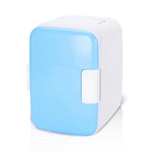 Mini frigorifero, mini frigo 4 litri/6 lattine di raffreddamento elettrico e sistema termoelettrico portatile più caldo per auto(Blu)