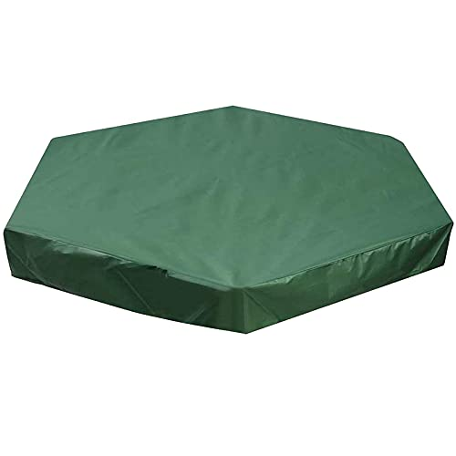 HMYLI Sandbox Cover esagono, Panno Oxford Piscina Impermeabile Sandpit Pool Cover Verde Anti UV Sandbox Protection Cover con Coulisse per Sandpit Piscina e mobili,140 * 110cm