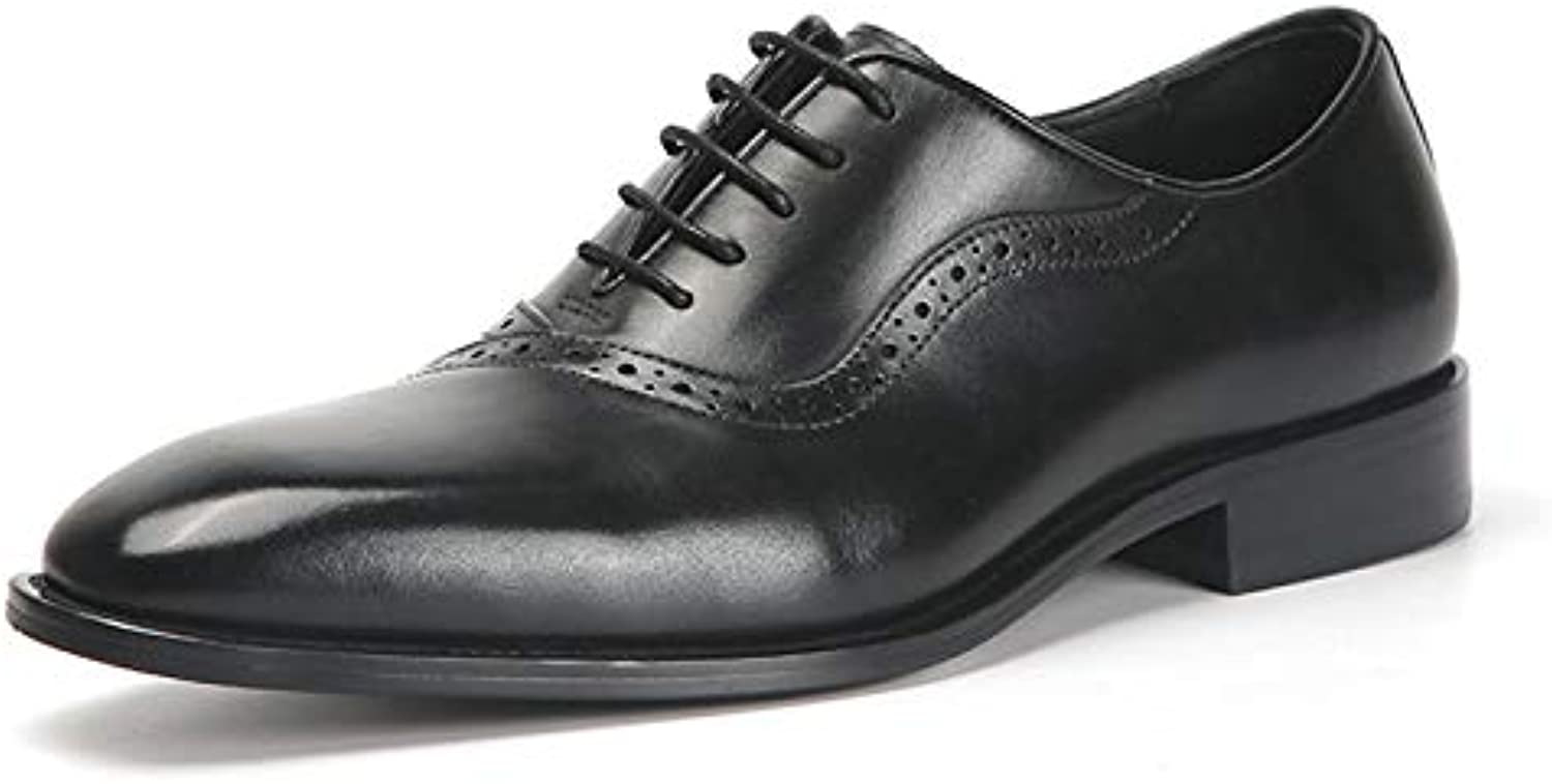 YongBe Men's Business Office Work Black Brogue Leather Lace-Up Oxford shoes Formal Smart Derby Loafer Flats Wedding Party Red Dress shoes For Men