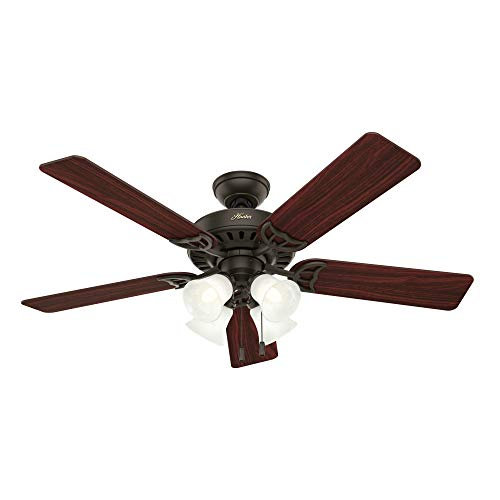 "Hunter Studio Series Indoor Ceiling Fan with LED Light and Pull Chain Control, 52"", New Bronze"