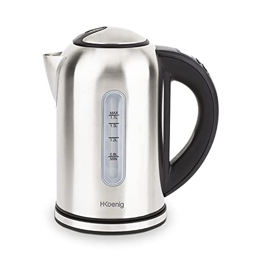 H.Koenig BOE50 Bollitore Elettrico, Programmabile, Termostato regolabile da 40° a 100°C, 1,7L, 2200W