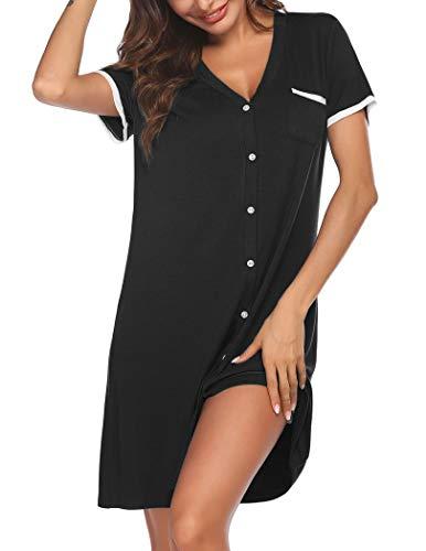 Ekouaer Womens Button Down Nightshirt Short Sleeve Sleep Shirt Soft Pajama Top Nightgown Black L
