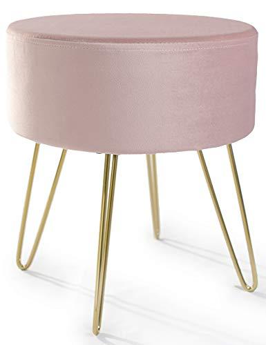 Theo&Cleo Samthocker für schminktisch, Samtstoff Rund Fußbank, Pouf aus Couch Hocker, Elegantes Design Stuhl, Sitzhocker aus Gold Metallbeine, bis 100KG Belastbar, 37 * 40 cm Rosa