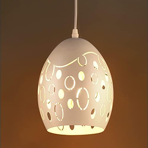 Lampada a Sospensione a LED, Lovebay Tavolo Bar Adatto per Lampadine LED E27, Lampada Sospensione Industriale, per Cucina, Camera da Letto, Studio, Bar, Ecc. (Senza Lampadina) (B Bianco)
