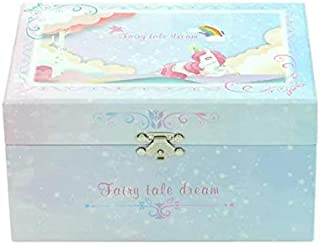 Orchid M Girl's Musical Jewelry Storage Box with Spinning Girls, Glitter Rainbow and Stars Design, The girls Tune