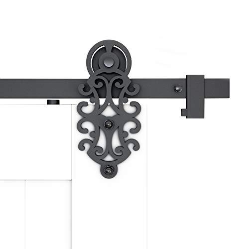 DIYHD TSQ72 8FT Ornate Cut Roller Black Iron Sliding Barn Hardware, Single Door kit