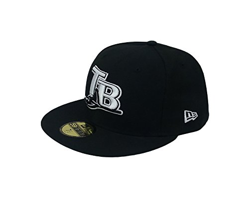 New Era 59Fifty Hat MLB Tampa Bay Rays Basic Black Cooperstown Fitted Cap (7)