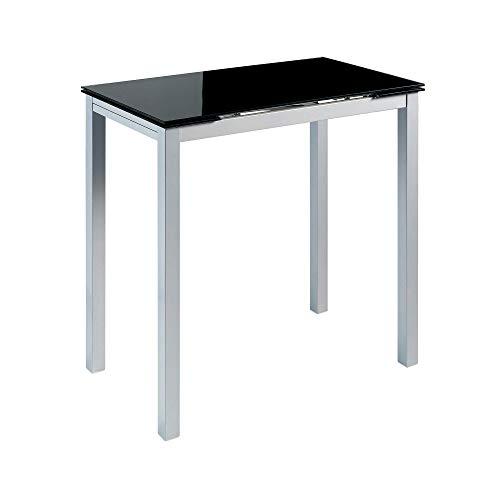 MOMMA HOME Mesa de Cocina Extensible - Modelo CALCUTA Alta - Color Negro/Plata - Material Cristal Templado/Metal - Medidas 140x60x95cm