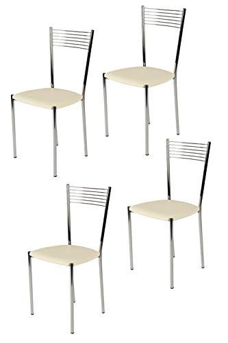 Tommychairs - Set 4 sillas Elegance para Cocina, Comedor, Bar y Restaurante, Estructura en Acero Cromado y Asiento tapizado en Polipiel Color Marfil