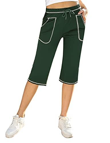 Irevial Pantaloni Sportivi Donna Cotone Pantaloni Cropped Donna Estivi Leggeri con Tasche e Coulisse Pantaloni Tuta Donna Palestra Lunghi 3/4 Eleganti per Jogger Fitness