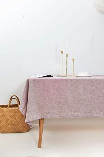Hera Linen: Mantel de Lino 235x280cm en Rosa UVA. Lino Lavado Premium 100% Europeo. Hecho en España.
