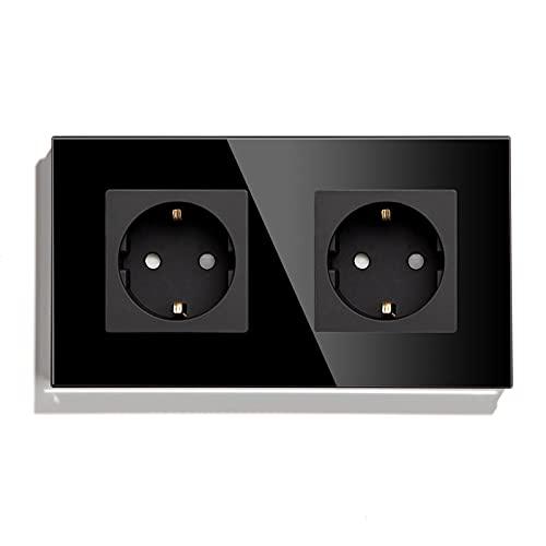BSEED Enchufe de pared Doble,Schuko Enchufe Doble con Panel de cristal Negro,16A 250V toma de corriente,enchufes de extensión para Cocina, Dormitorio, Oficina, Hotel, etc