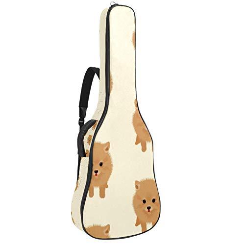 Bolsa para guitarra eléctrica con diseño de perro Pomeranian Vector Gráfico, tamaño completo, acolchada con asa acolchada y correa para el hombro