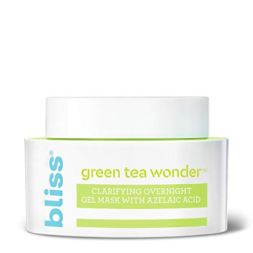 Bliss Green Tea Wonder Clarifying Overnight Gel Mask with Azelaic Acid, Deep Cleansing and Tightens Pores, Made Without Parabens and Sulfates, Vegan, 1.7 oz