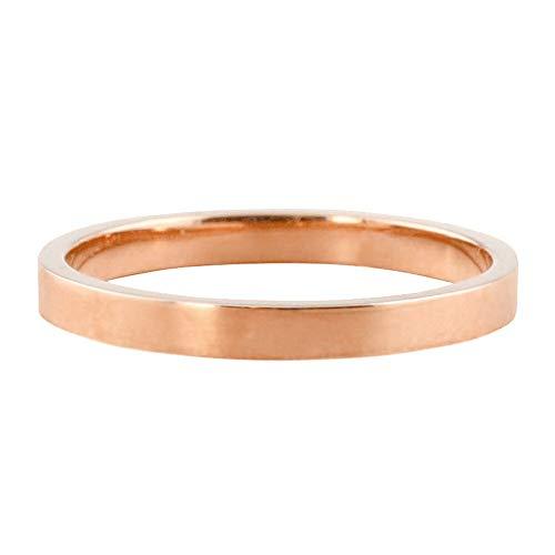 [ジュエリーアイ] 平打ち 指輪 2ミリ幅 リング メンズ シンプル フラット 結婚指輪 マリッジリング ブライダル 単品 日本製 ピンクゴールドK18 K18PG 12.5号