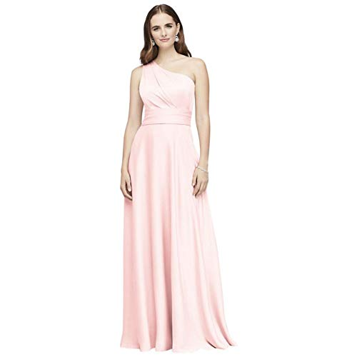 David's Bridal Satin Crepe One-Shoulder Bridesmaid Dress Style OC290063, Petal, 20